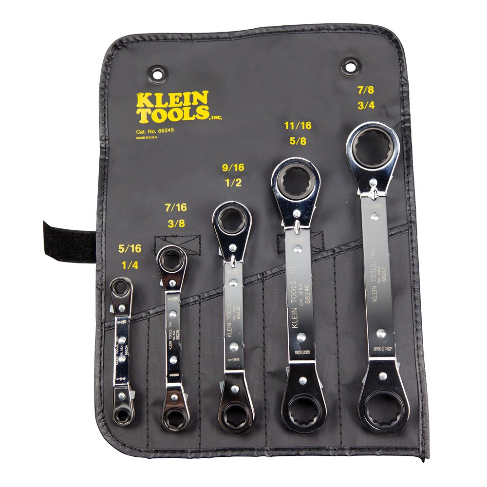Klein Tools 68245 Reversible Ratcheting Box Wrench Set, 5-Piece by Klein Tools