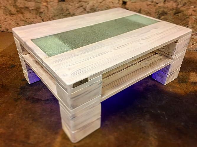Couchtisch Palettenmöbel Genua Mit Glasplatte Led Beleuchtung