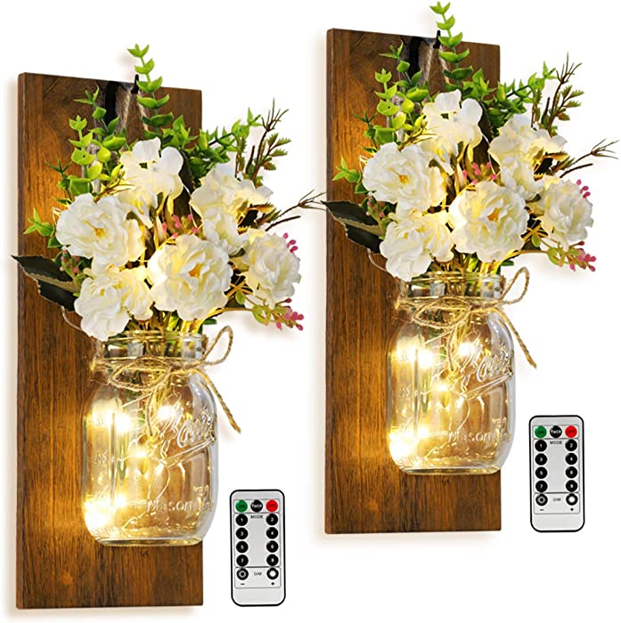 Mason Jar Wall Candlestick Lighting, Home Decoration, Living Room, Bathroom, Hanging Retro Wall Closet 6 Hours LED Lighting with Remote Control(2 Sets) (Large, Burn Color)