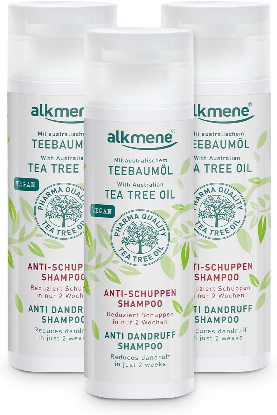alkmene champú anticaspa con aceite de árbol de té - Reduce la caspa en sólo dos semanas - champú para el cabello vegano - champú anticaspa en un pack de 3 (3x