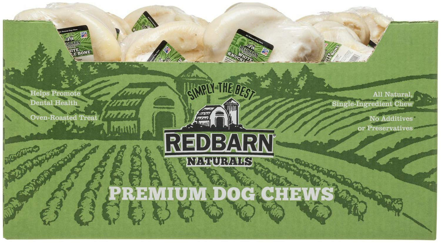 REDBARN White Knuckle Bone for Dogs, Naturals, 20 Count