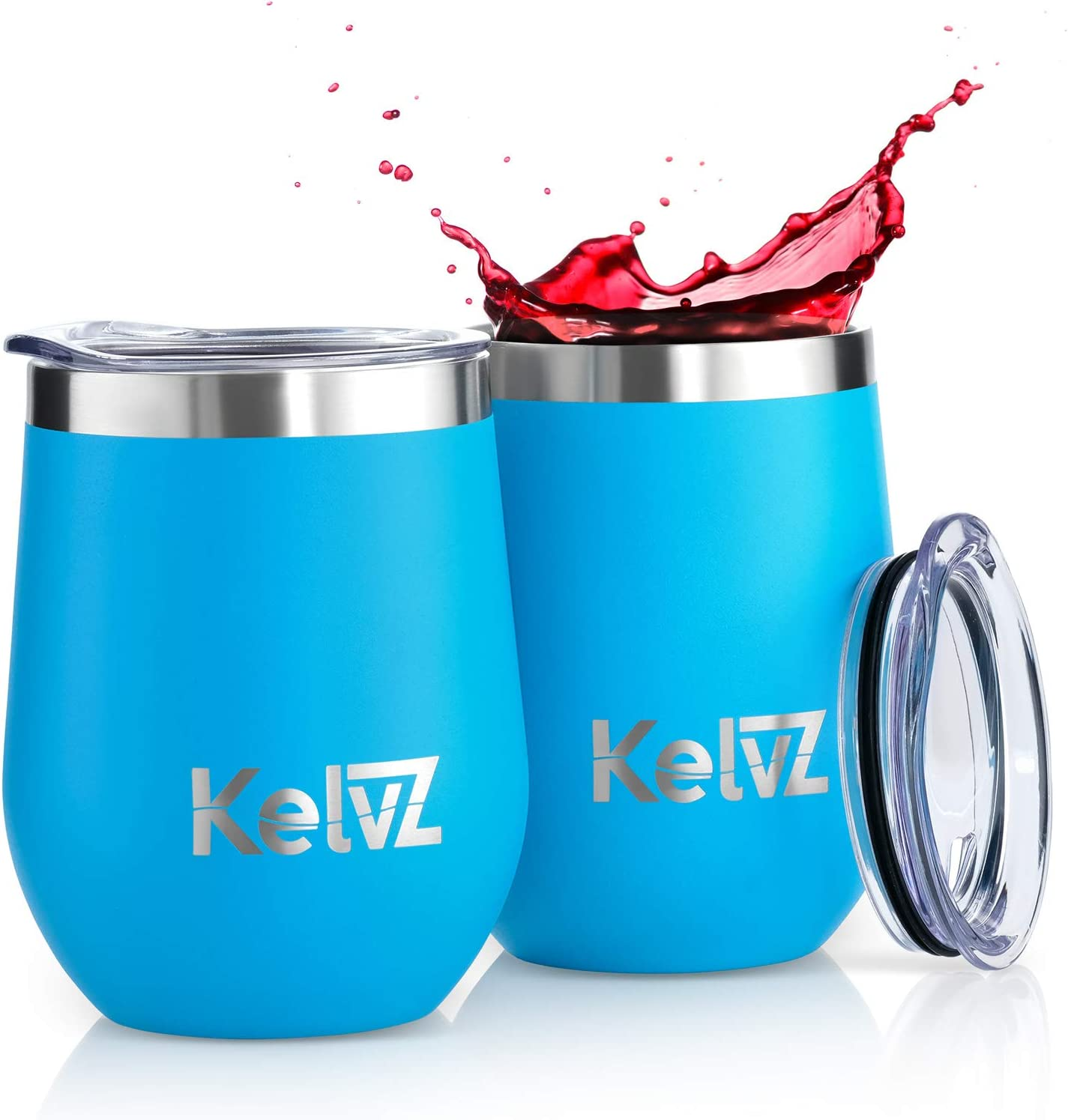 KelvZ 2 Pack Insulated Wine Tumbler with Lid | 12 oz Stemless Wine Glasses | 18/8 Stainless Steel Tumbler for Wine and Hot Drinks | Double Wall Vacuum Insulated Tumbler Wine Glass Set (Caribbean Sea)