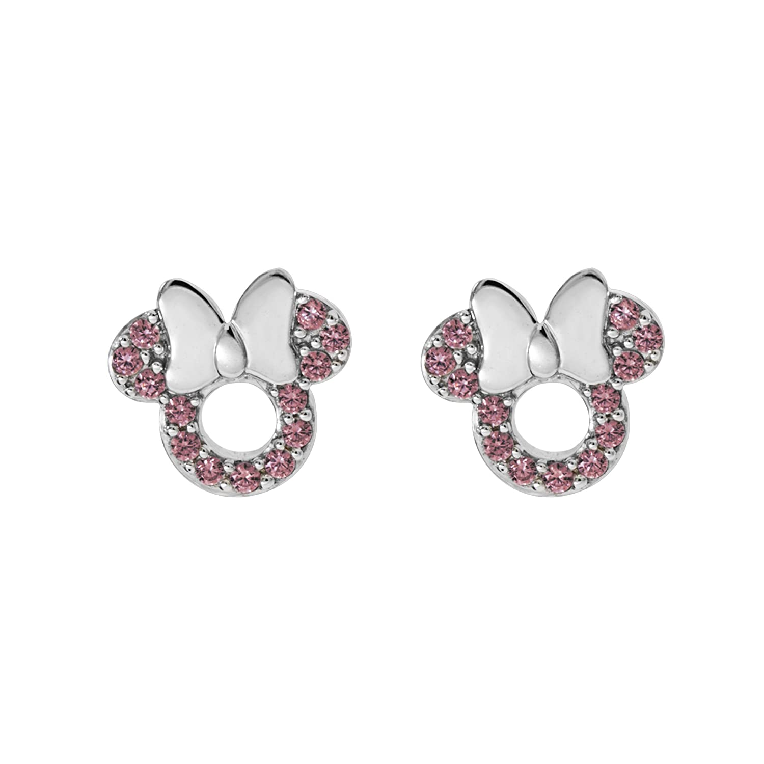 730f40e9d Amazon.com: Disney Minnie Mouse Women Jewelry, Sterling Silver Pink Cubic  Zirconia and Silver Bow Stud Earrings Mickey's 90th Birthday Anniversary:  Jewelry