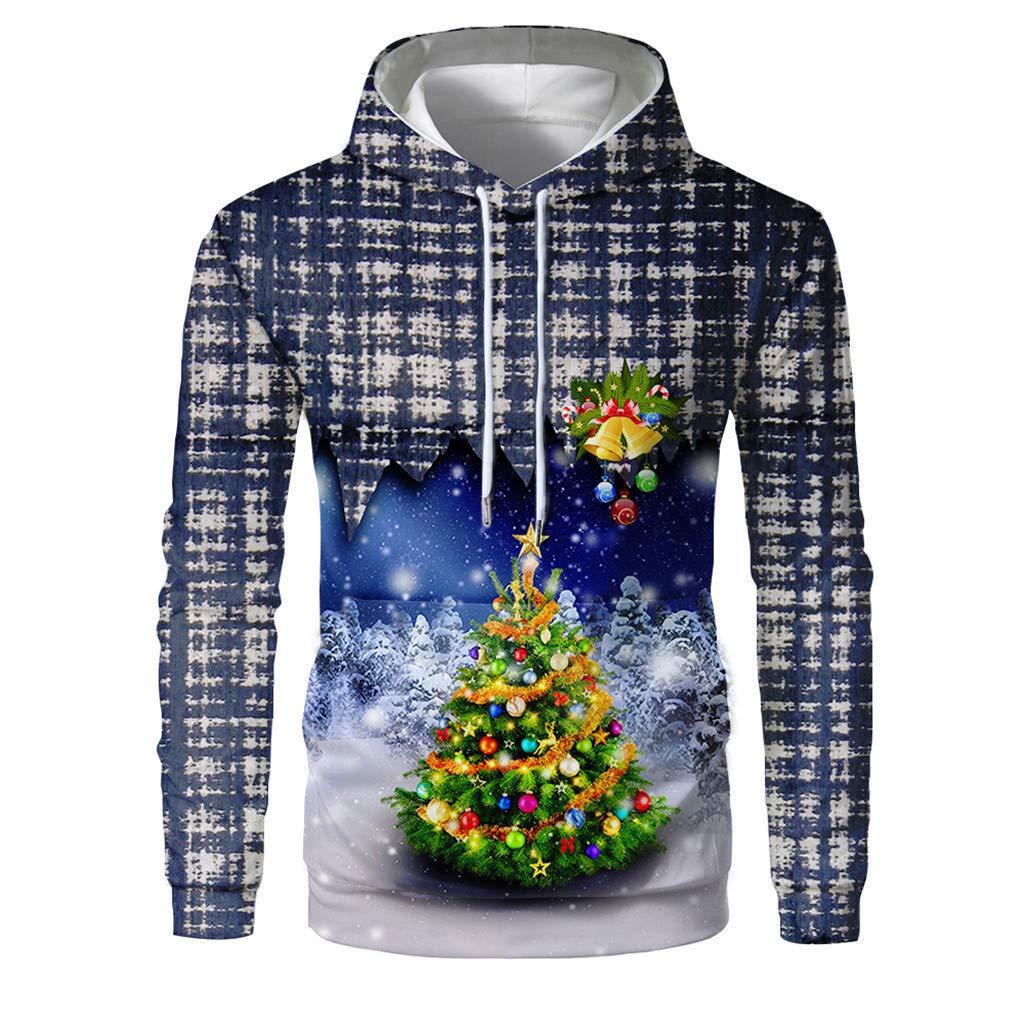 Men Christmas Theme Fun Ugly 37D Snowman Tree Snowflake Print Long Sleeve Casual Party Sport Sweatshirt Hoodie Tops with Kangaroo Pocket by QQ1980s