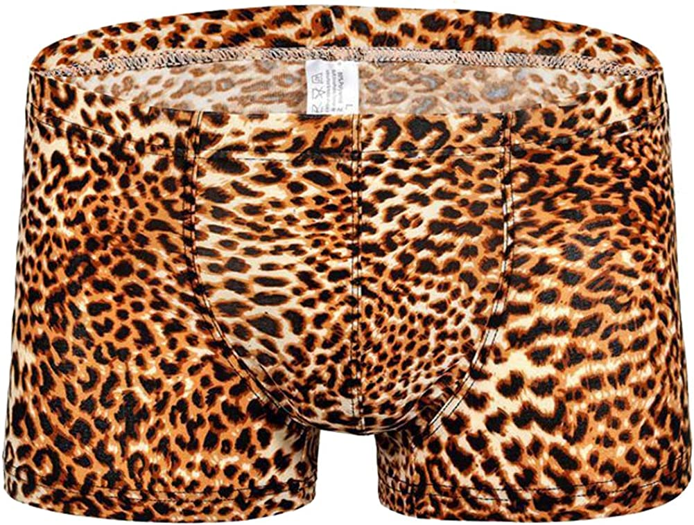 Fashion Mens Leopard Print Bamboo Fiber Boxer Briefs Comfy Breathable Underwear