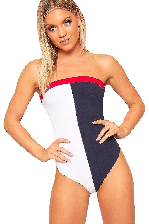 Womens Block Colour Contrast Bodysuit Ladies Long Sleeve Stretchy Leotard Tops