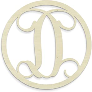 UNFINISHEDWOODCO Single Letter Circle Monogram-D, 19-Inch, Unfinished