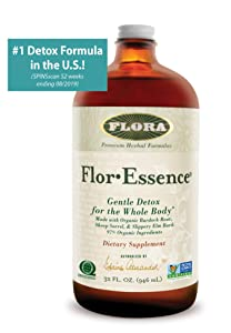 Flor Essence Detox Tea Cleanse - 32 Oz LARGE - 16 Day Gentle Herbal Cleanse Laxative Free - All Natural with 90% Organic Ingredients - by Flora