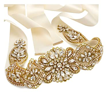 Yanstar Handmade Rhinestone Crystal Wedding Bridal Belt Sash With Ribbon Sashes for Evening Party Prom Bridesmaid Dress