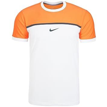Rafael Nadal Nike 2015 ATP Master Madrid Roma para hombre Summer Challenger Premier Rafa camiseta de tenis Crew, naranja/blanco, S: Amazon.es: Jardín