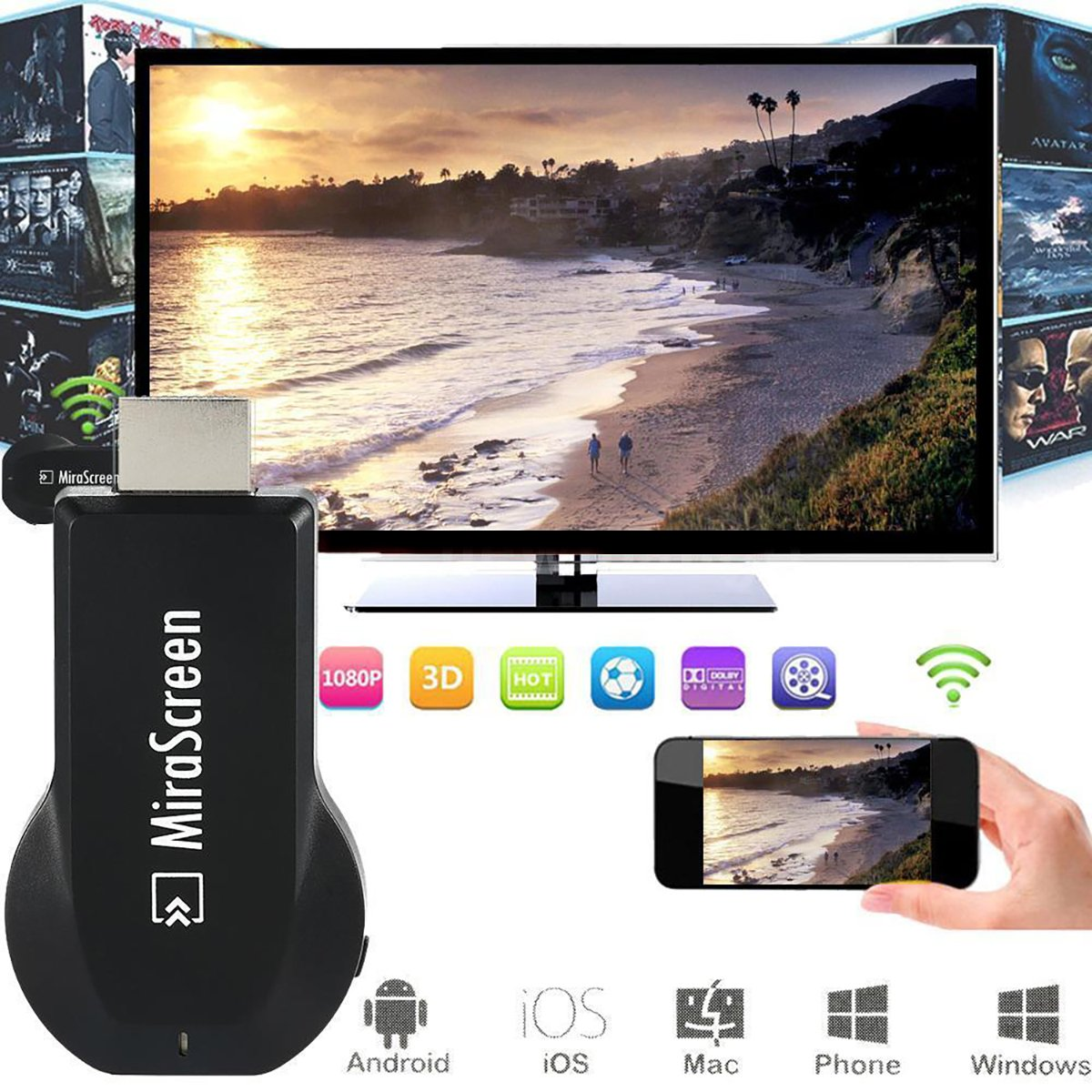 Mirascreen Dongle 1080P Media Player DLAN Air Play For Tablet Smartphone AH094