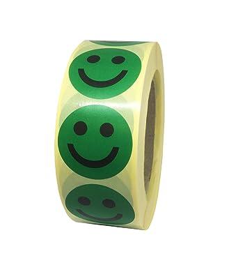 Pastilles Gommettes Smiley Content Vert En Papier Autocollant ø 40