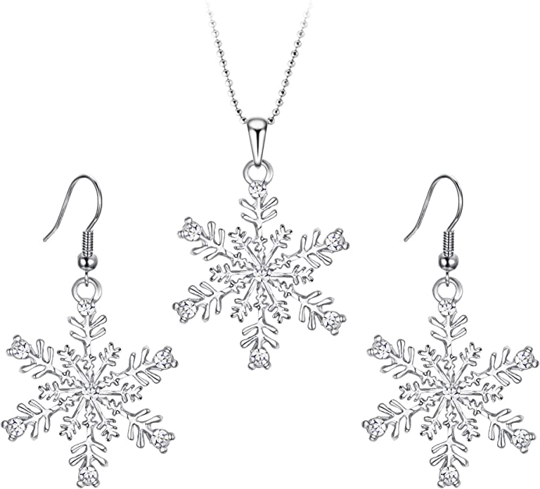 Crystal Snowflake Bridesmaid Necklace Dangle Earrings Prom Christmas Jewelry Set