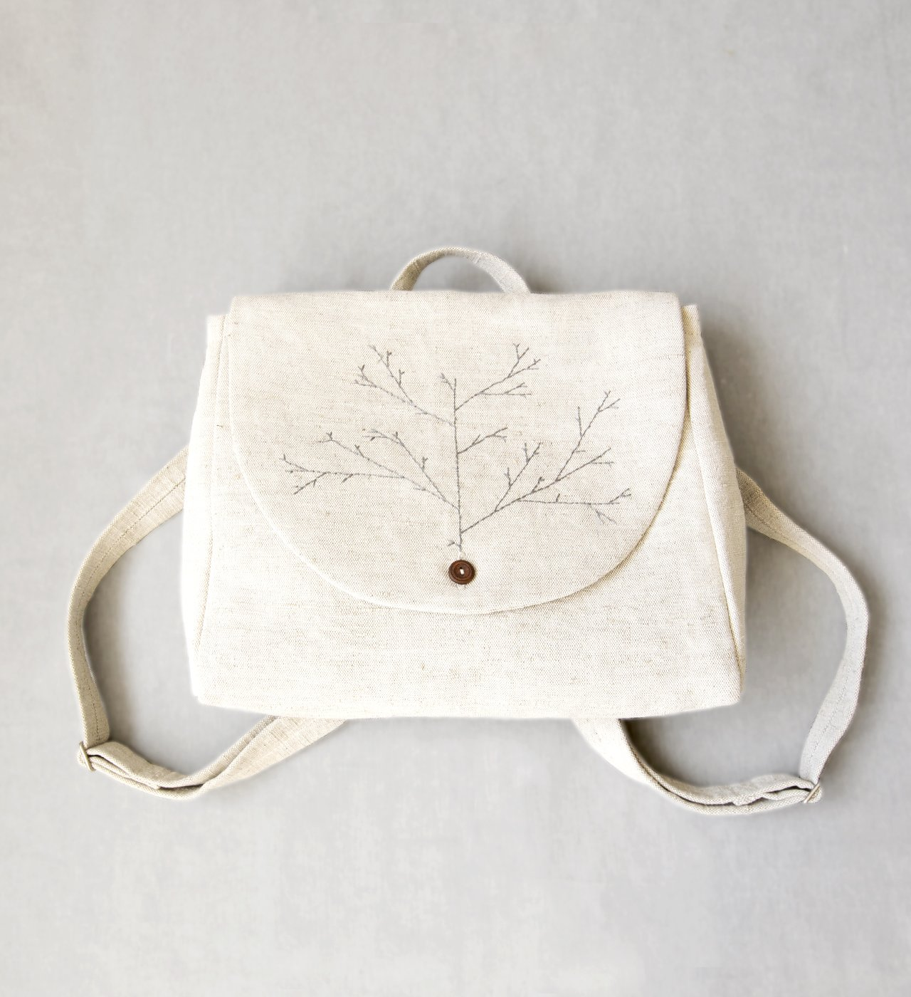 Embroidered backpack linen bag canvas women's backpack linen backpack hand embroidery white linen bag wedding linen bag rustic bag boho chic