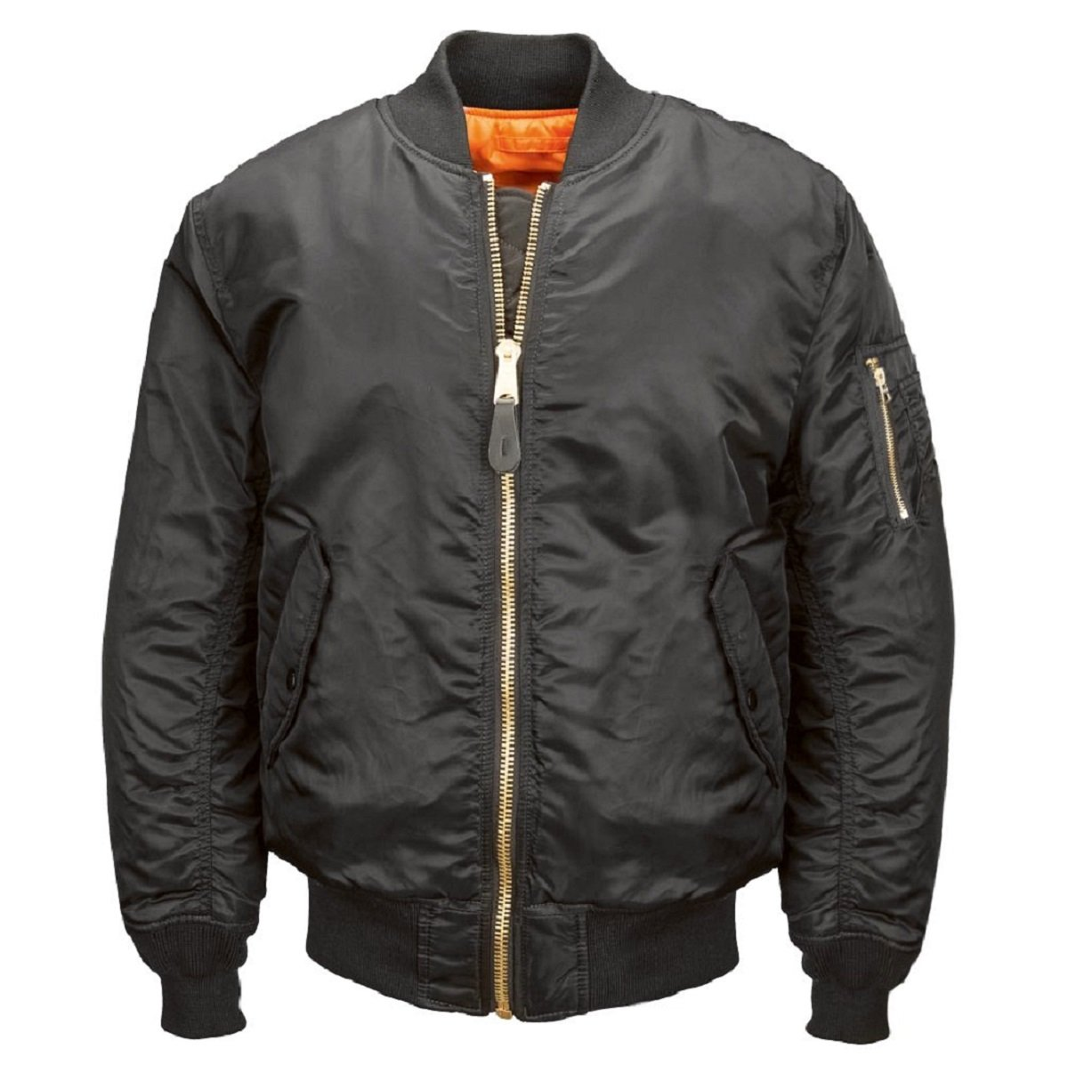 Alpha Industries Men's MA-1 Blood Chit Flight Bomber Jacket, Black, Small by Alpha Industries