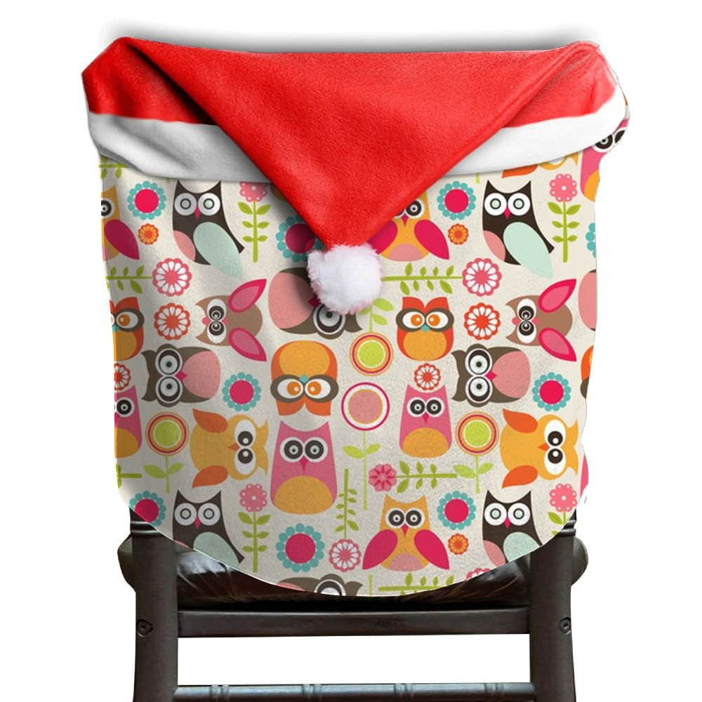 Owl Animal Christmas Chair Covers Modern Design Not Fade Hang Around Chair For Men And Women Christmas Chair Back Covers Holiday Festive