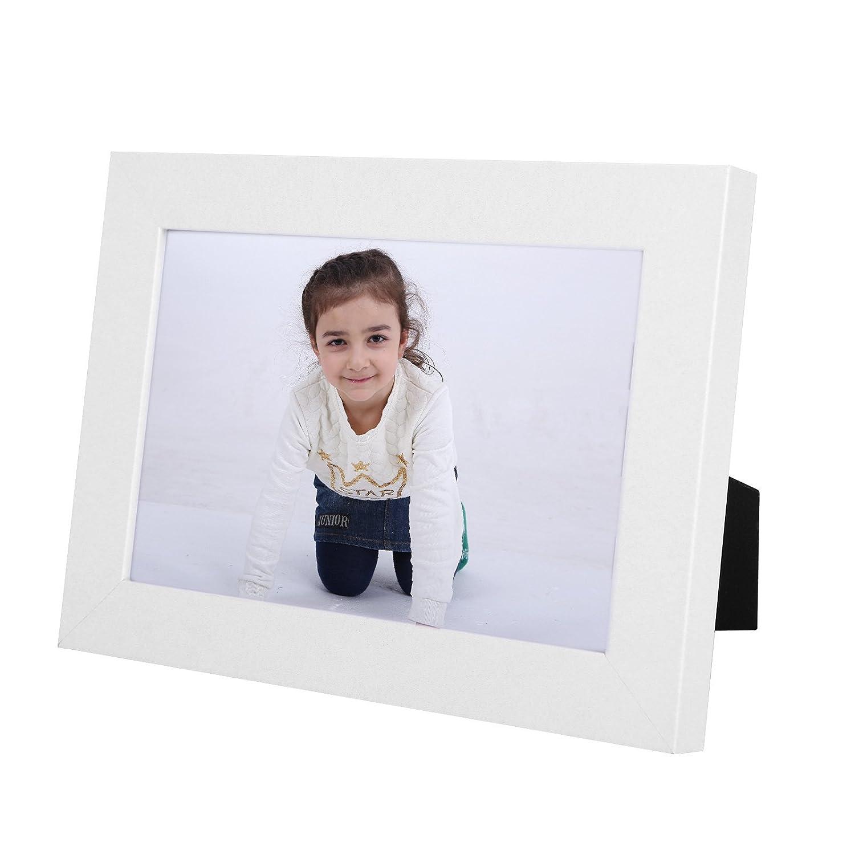 Vidrio Frontal SONGMICS Juego de 3 Marcos de Fotos 13 x 18 cm Regalo Tablero de MDF Blanco RPF33WT Portafotos de Madera