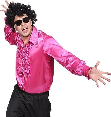 70 80 1970s 1980s Disco volantes Camisa kostuem brillo Schlager Camisa Party Retro Señor Camisa Hombre kostuem rosa: Amazon.es: Ropa y accesorios