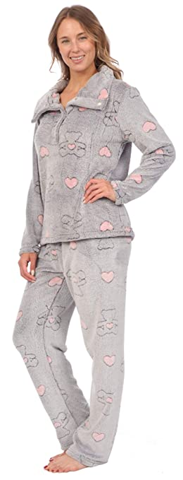 Patricia Womens Soft Minky Polar Fleece 2 Piece Pajama Sets at Amazon Womens Clothing store: