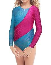 5c9f8cea1f1c Kidsparadisy Girls Long Sleeve Ballet Gymnastic Dance Leotard Red Stripe  Mermaid Sparkly Cross Dancing Training Costumes