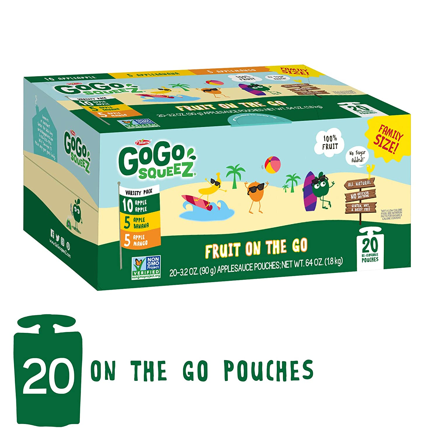 GoGo squeeZ Applesauce on the Go, Variety Pack (Apple Apple/Apple Banana/Apple Mango), 3.2 Ounce (20 Pouches), Gluten Free, Vegan Friendly, Healthy Snacks, Unsweetened, Recloseable, BPA Free Pouches