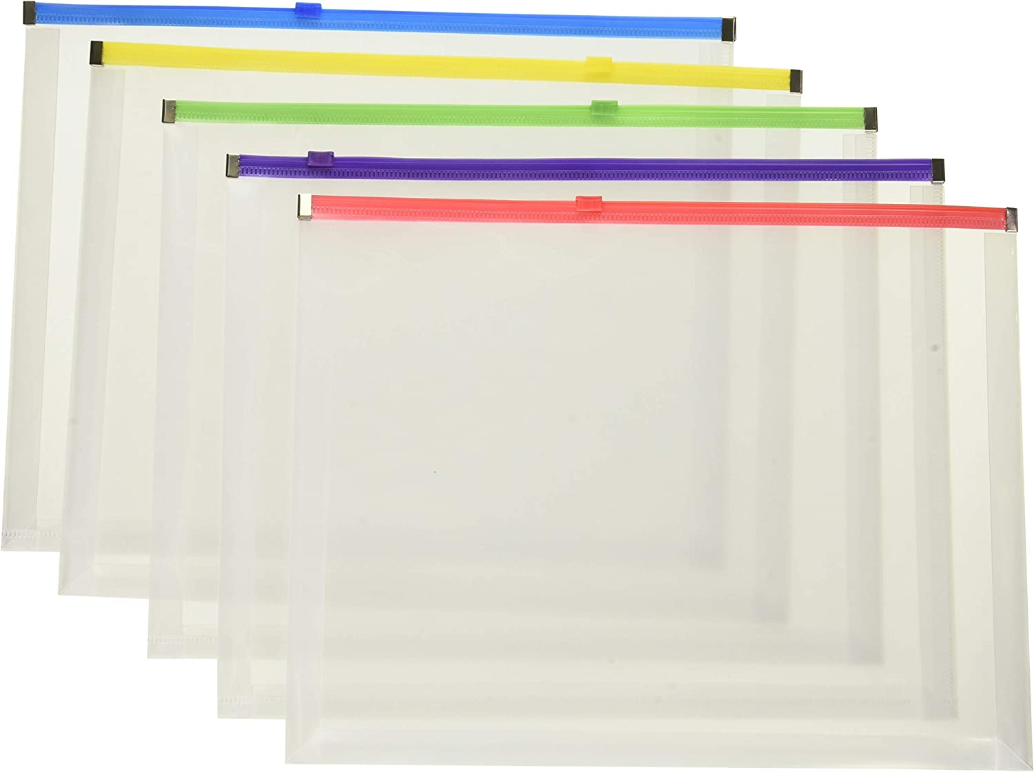 Pendaflex Poly Zip Envelope, 10 X 13, Open Side, Assorted, 5/Pack (1)