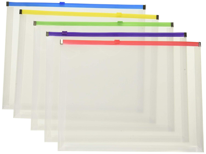 10 X 13 Open Side 5//Pack Pendaflex Poly Zip Envelope Assorted