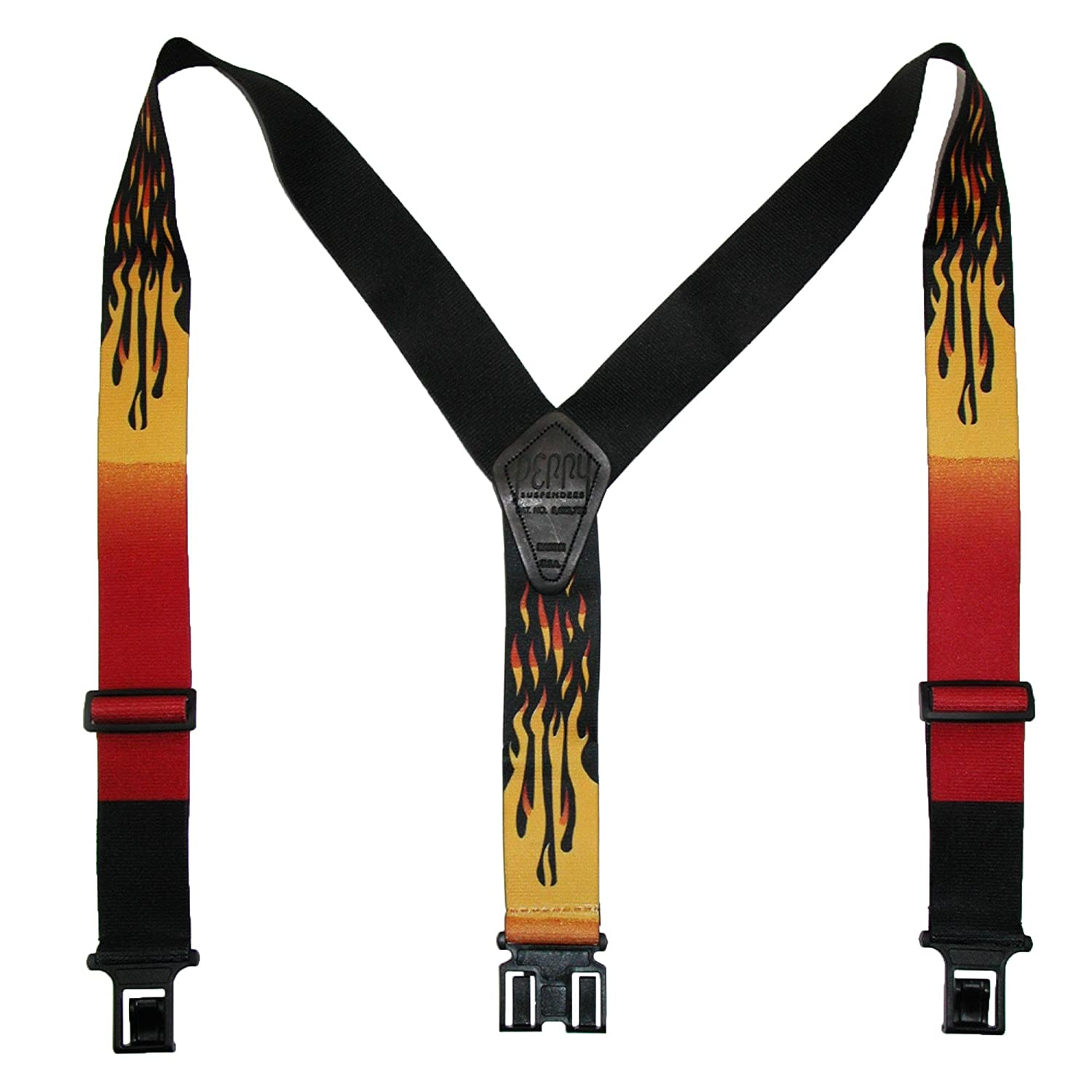 Perry Suspenders Men's Elastic Hook End Flame Suspenders (Tall Available), Tall