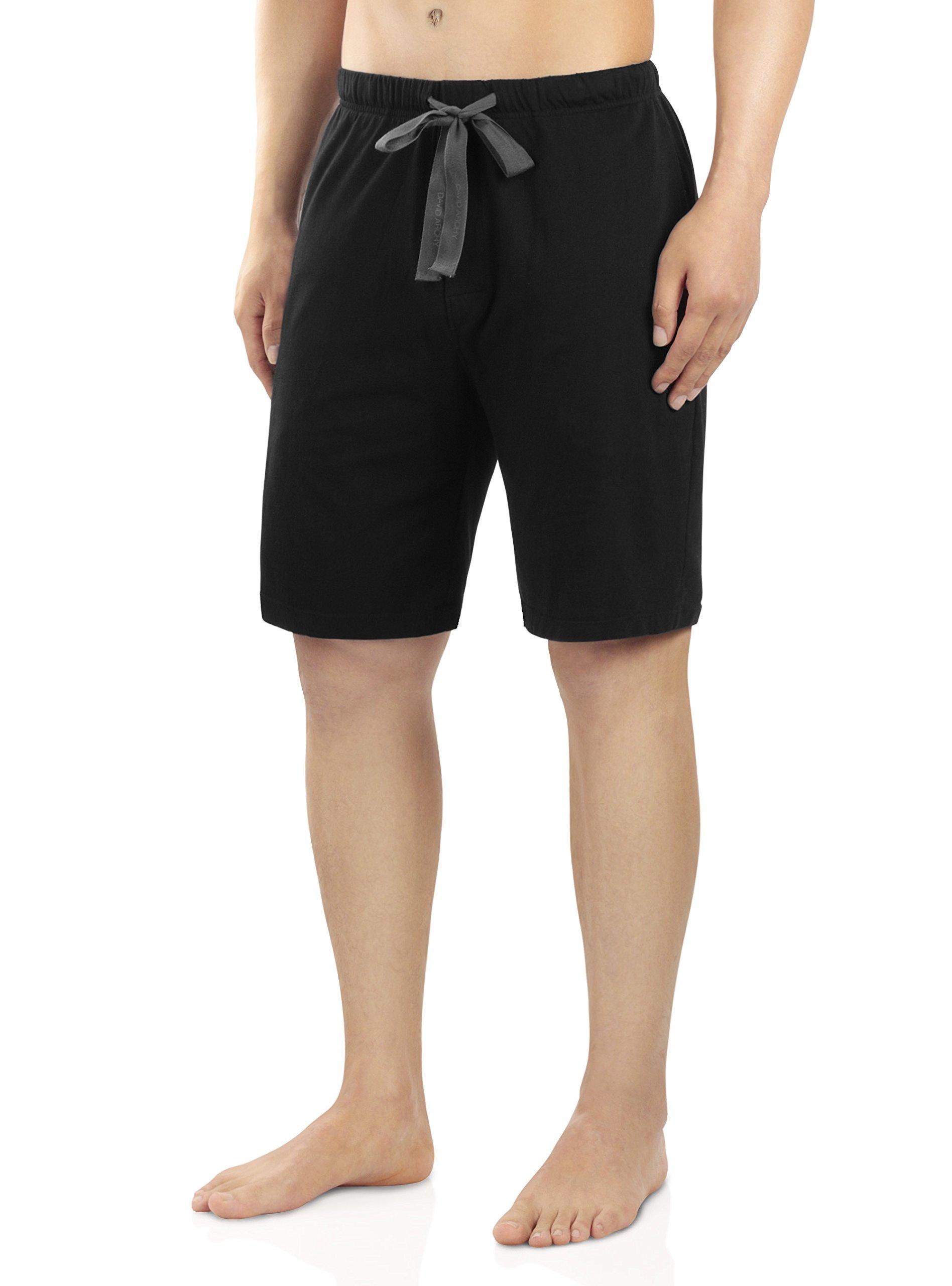 David Archy Men's Soft Comfy Cotton Sleep Short Lounge Short Pants (Black, L)