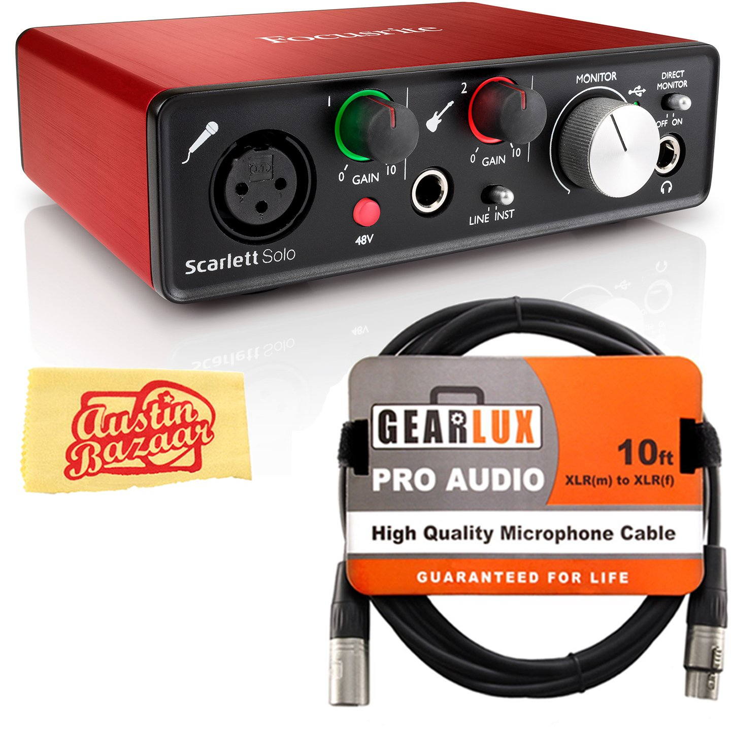 Focusrite Scarlett Solo USB Audio Interface Bundle with XLR Cable and Austin Bazaar Polishing Cloth by Focusrite