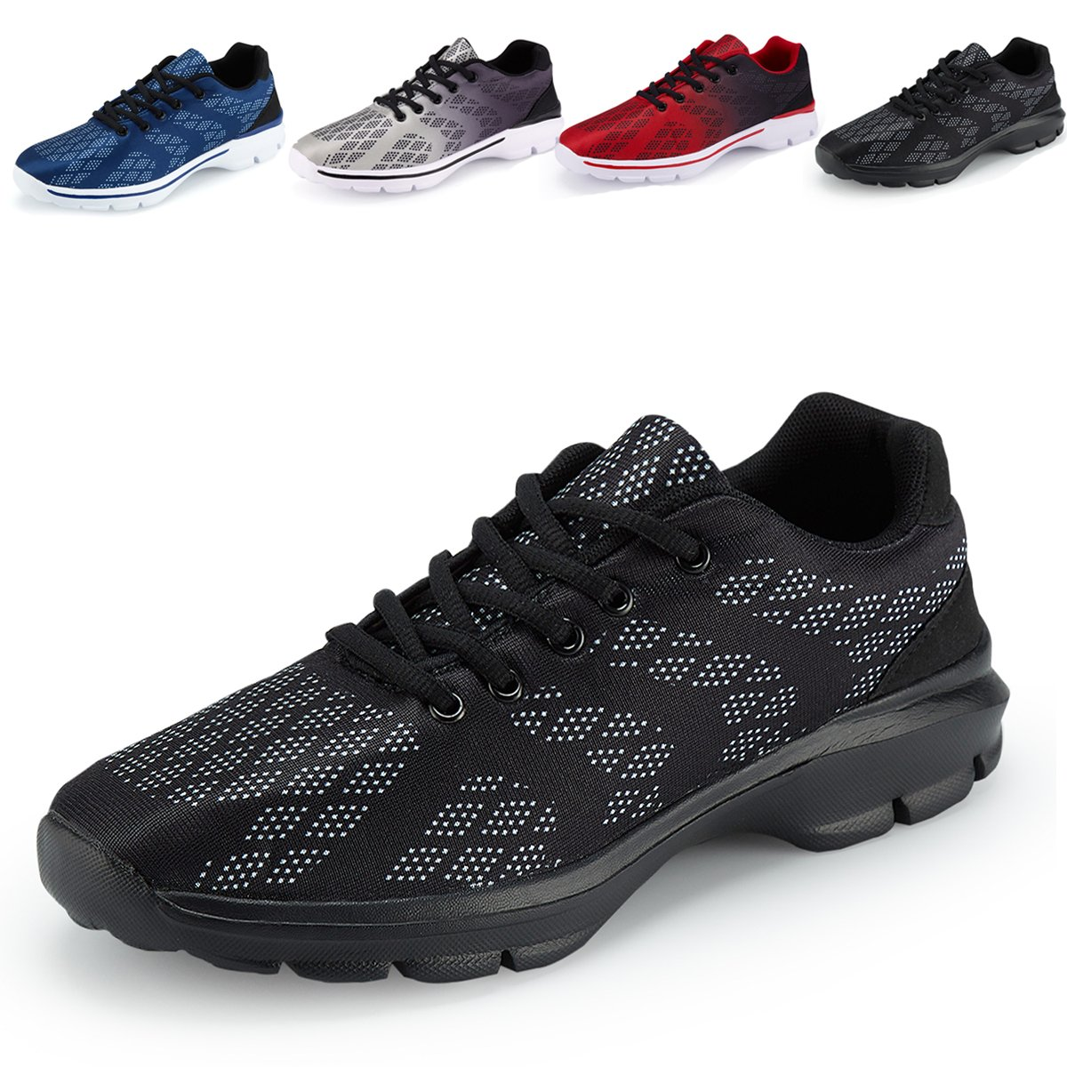 Men's Lightweight Breathable Running Tennis Sneakers Casual Walking Shoes (12 D(M) US, Black)