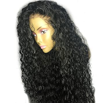 HYISHION Peluca De Pelo Humano De 180% De Densidad para Mujeres Negras De Encaje Natural