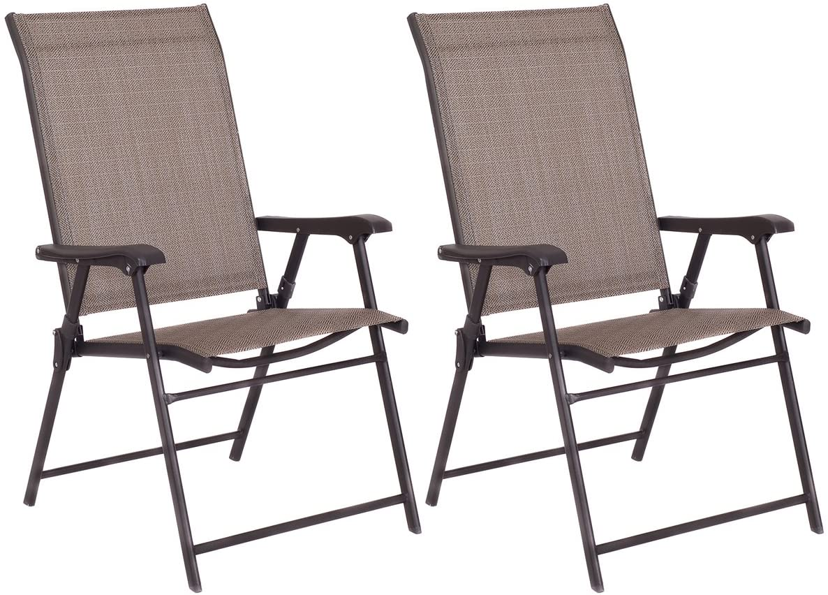 GOFLAME Patio Chairs Folding Sling Back Chairs, Portable Furniture Chairs Indoor Outdoor for Camping Garden Pool Beach, Set of 2