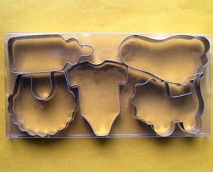 Bebé Tema Fondant molde para hornear de acero inoxidable molde para galletas botella babero Onesie cochecito