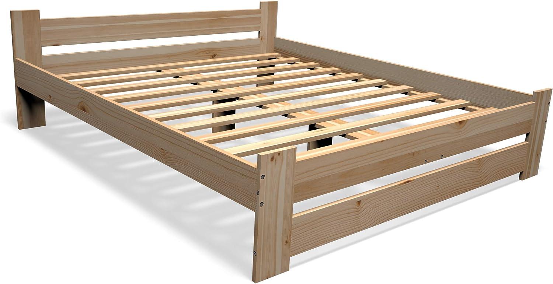 Best For You - Cama doble de madera maciza en color natural, 100 % madera natural, con cabecero y somier, muchos tamaños