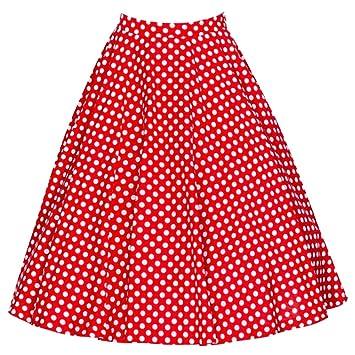para Mujer Vintage Floral Swing Full Circle Casual Falda Corto Retro Vestidos Rojo S