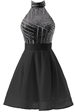 587b4380da DYS Women s Short Halter Prom Party Dress Backless Homecoming Dress for  Juniors Black US 0