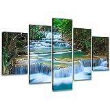 Visario 6308 Bild auf Leinwand Wasserfall Natur fertig gerahmte Bilder 5 Teile Marke original, 200 x 100 cm