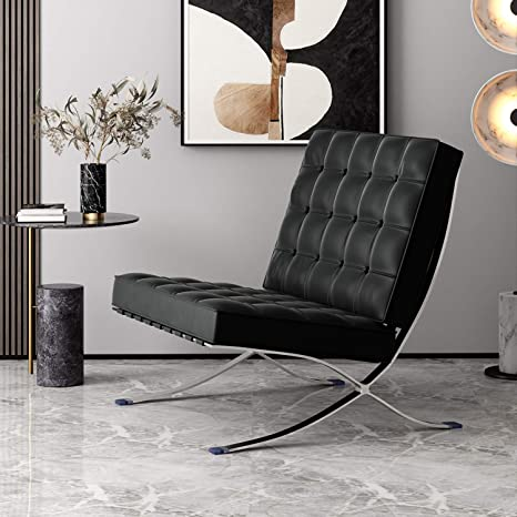 Deosung Modern Lounge Chair for Reception Seating Living Room Bedroom  Genuine Leather Barcelona Chair Black