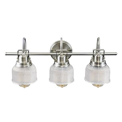 Houseables Bathroom Light, Lighting Fixtures, 3 Bath Vanity Bracket,  Brushed Nickel, 26