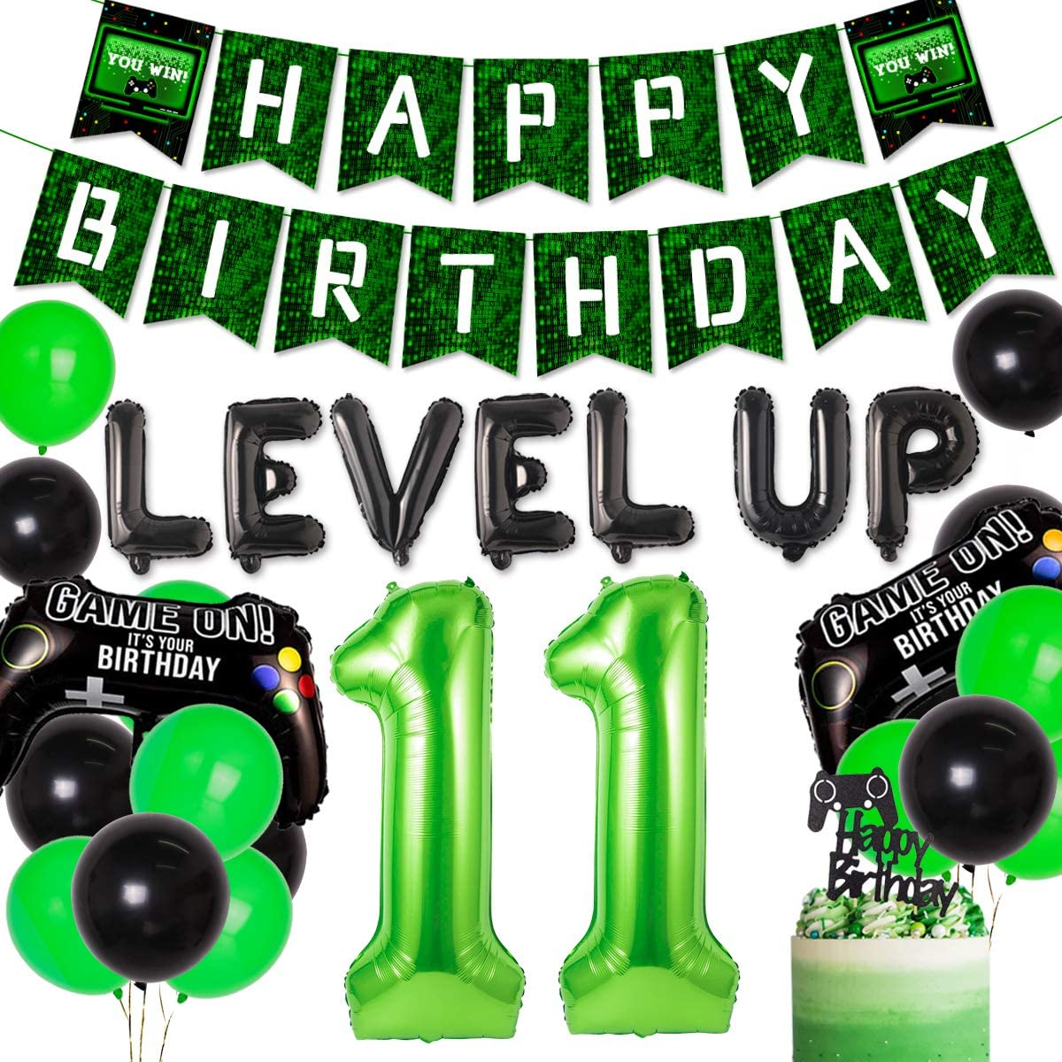 Video Game Party Supplies 9th Game Birthday Party Decorations for Kind Boys Girls Game on Birthday Party Supplies for Game Fans Green Gaming Banner Black and Green Balloons Game Controller Balloons
