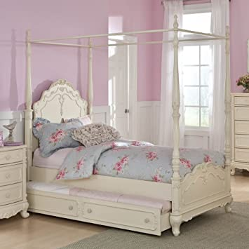 Amazon.com: Homelegance Cinderella Canopy Poster Bed In Antique ...