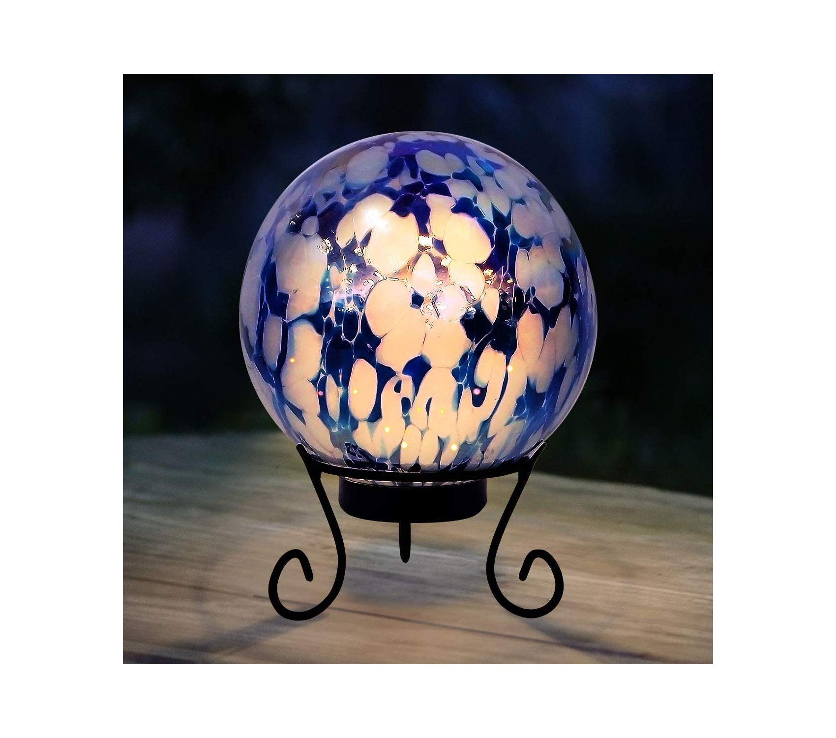 Outdoor Garden Backyard Décor Gazing Globe with LED Light, 10 Inch Tall Blue and White by Garden Décor (Image #2)