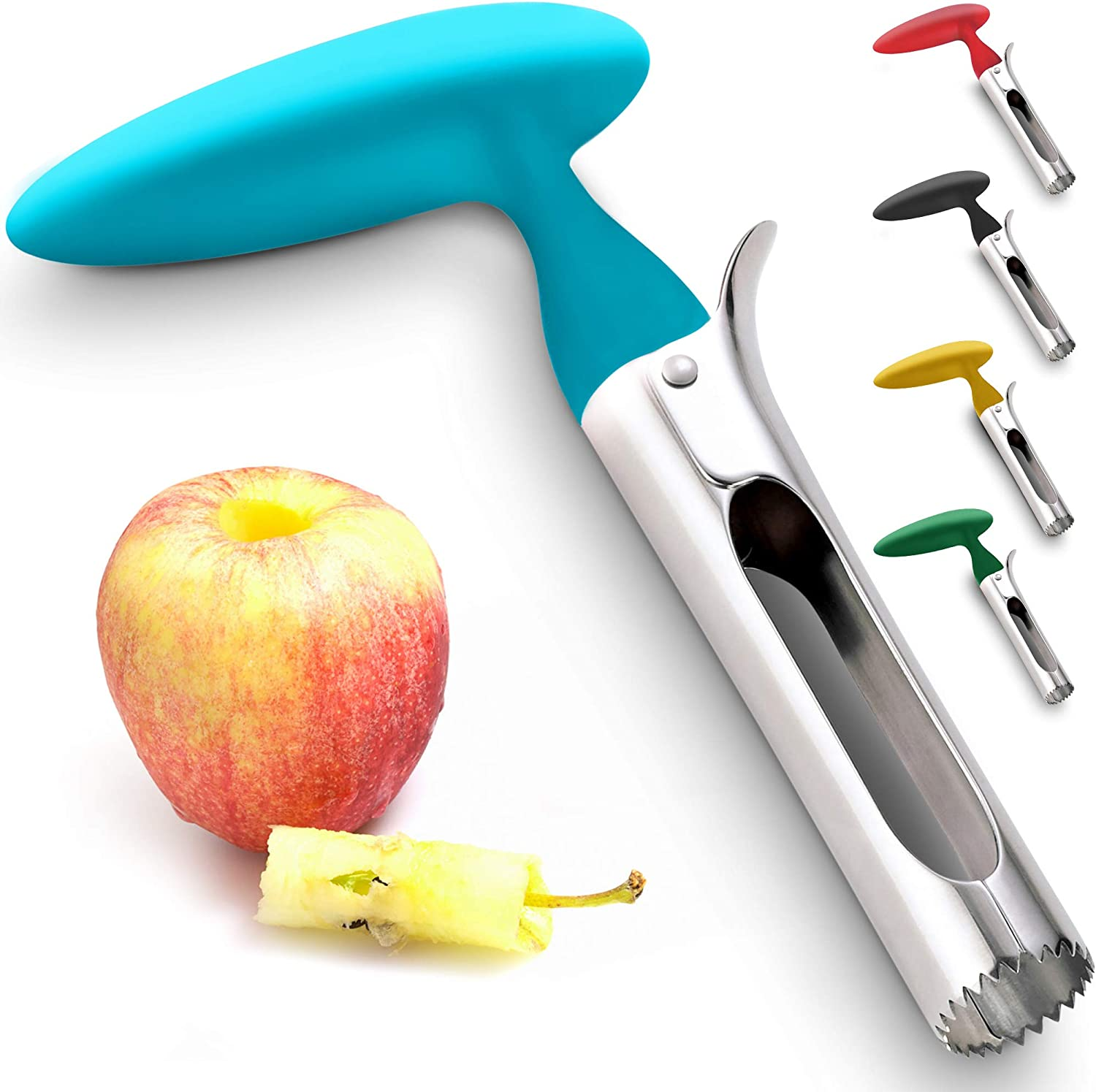 Premium Apple Corer - Easy to Use Durable Apple Corer Remover for Pears, Bell Peppers, Fuji, Honeycrisp, Gala and Pink Lady Apples - Stainless Steel Best Kitchen Gadgets Cupcake Corer - Zulay Blue