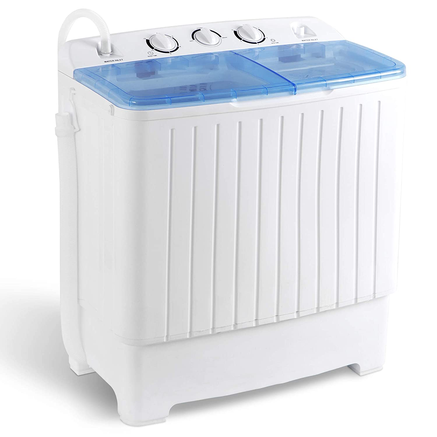SUPER DEAL 2IN1 Mini Compact Twin Tub Washing Machine 17.6lbs Washer + Spinner Combo, with Timer Control, Drain Hose, Inlet Water Hose and Extra Long Cord