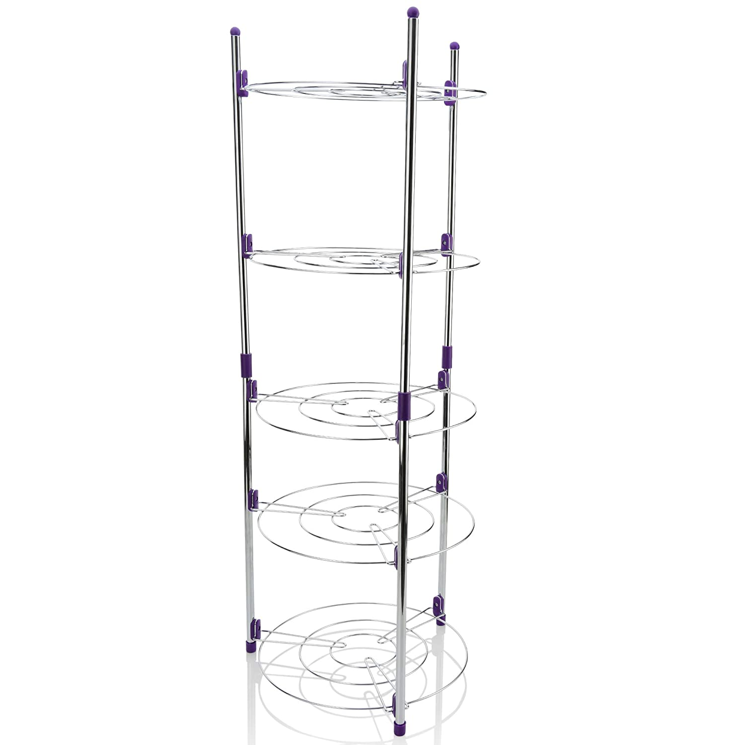 EBH Chrome 5 Tier Round Shelf Storage Tower. Instant Shelves for Storage of Instapot Crock Pot Stock Pot Dish Pan Lids and More Includes 5 S-Hooks for Small Items