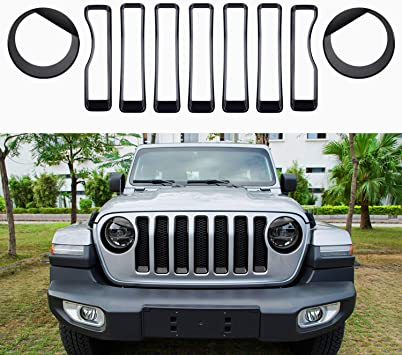 Sunluway Front Grille Trim Inserts Grill Cover /& Headlight Turn Light Cover Trim 9 PCs Red Protection Accessories for 2018 2019 Jeep Wrangler JL JLU Sport//Sports