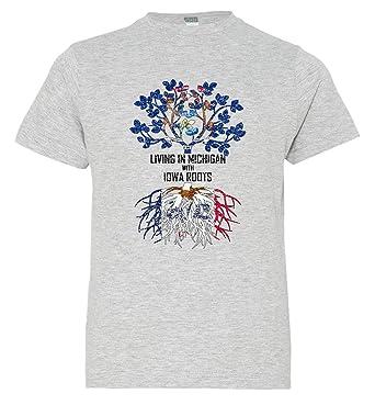 Tenacitee Mens Living in Michigan Iowa Roots T-Shirt
