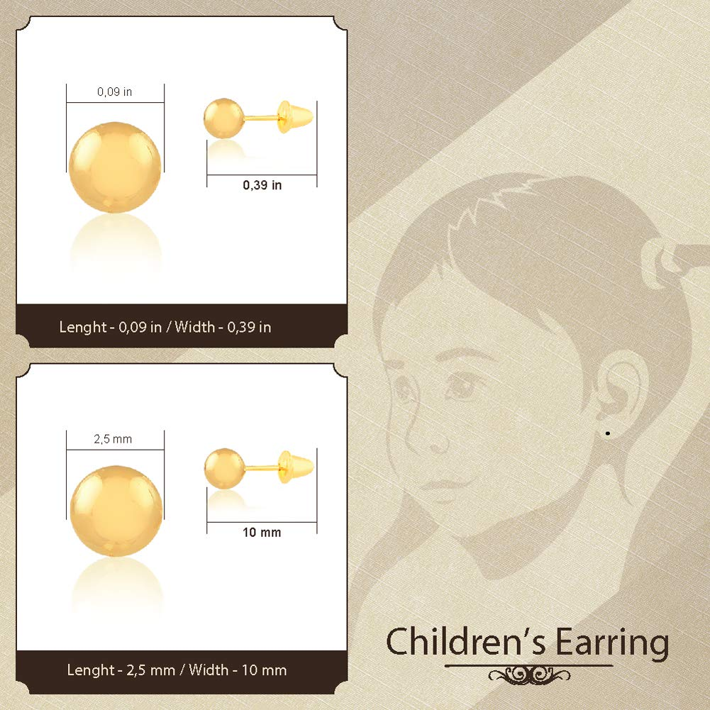 Carol Jewelry 18k Solid Gold Ball Push Backs Stud Earrings for Newborn Babies and Little Girls 2.5 mm