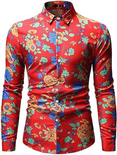 SXZG - Camisa de Manga Larga con Estampado de Flores para ...